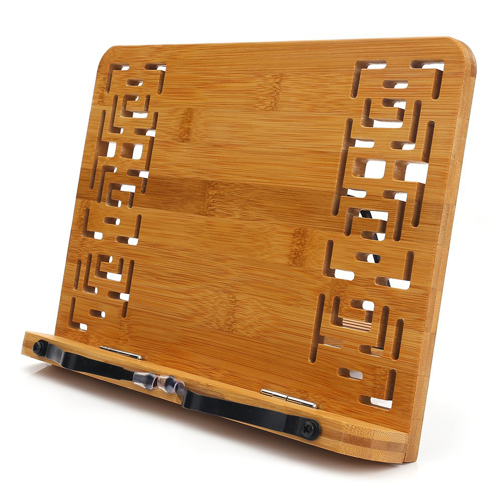 Retro Textbooks Adjustable Foldable Hollow Out Tablet Reading Rest <font><b>Bamboo</b></font> Holder Bookends Desktop Document <font><b>Book</b></font> <font><b>Stand</b></font> Bracket image