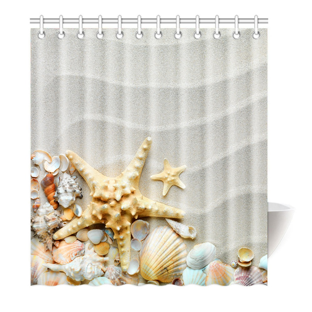 Shower Curtain Beach Ocean Decor Seashell Conch Starfish Printing Waterproof Mildewproof Polyester Fabric Bath Bathroom In Curtains From Home