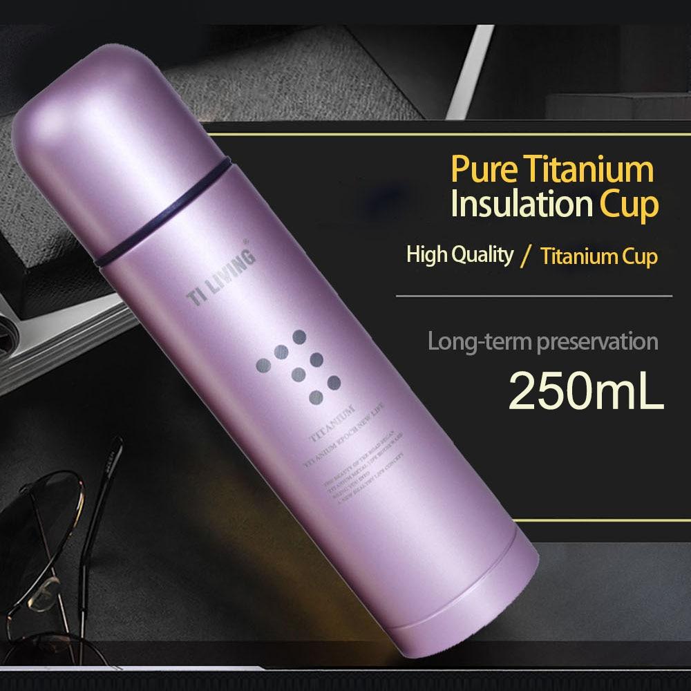 Tasse d'isolation sous vide en titane pur 250 ml voyage EDC Camping en plein air bol en titane pique-nique tasses à café en titane