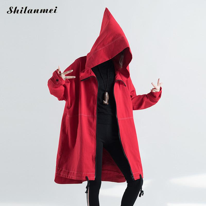 Hooded 2018 Fashion Winter Women Red Coat Long Female Autumn   Trench   Coat With Pockets Solid Casual Loose Women   Trench   New Arrive