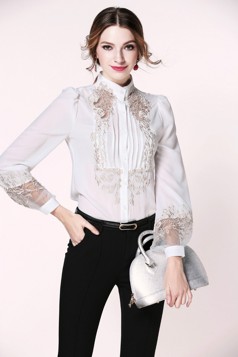 Ensotek Spring Designer Blouse Womens High Quality Puff Sleeve Stand Collar Gold Embroidery Bodysuit Shirt Tops