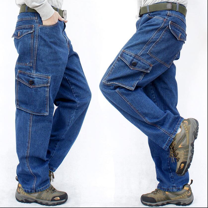 S-3XL Men's Machine repair loose large size   jeans   wear-resistant tooling denim casual straight work pants multi-pocket trousers