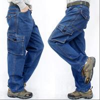 S 3XL Men's Machine repair loose large size jeans wear resistant tooling denim casual straight work pants multi pocket trousers