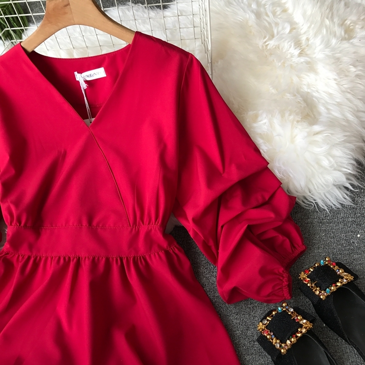 2109 Spring Women V-neck Puff Sleeves Blouse Slim Tunic Tops Retro Vintage Pullovers Busos Para Mujer Kimonos 79
