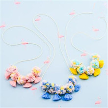 Korea Handmade Cute Romantic Lace Flower Tassel Children Necklace For Girls Kids Apparel Accessories-HZPRCGNL029F