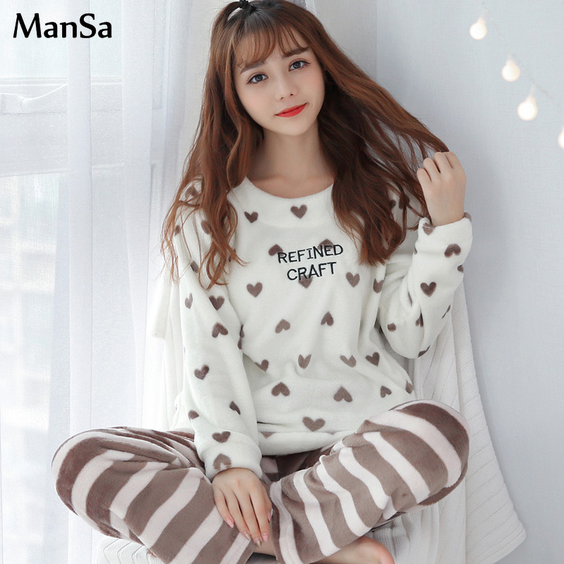 Women's   Pajama     Set   Coral Velvet Thick Warm   pajamas   Two-piece Suits 2018 winter Sleepwear kawaii Long Sleeve Pyjama   Sets   Homewear