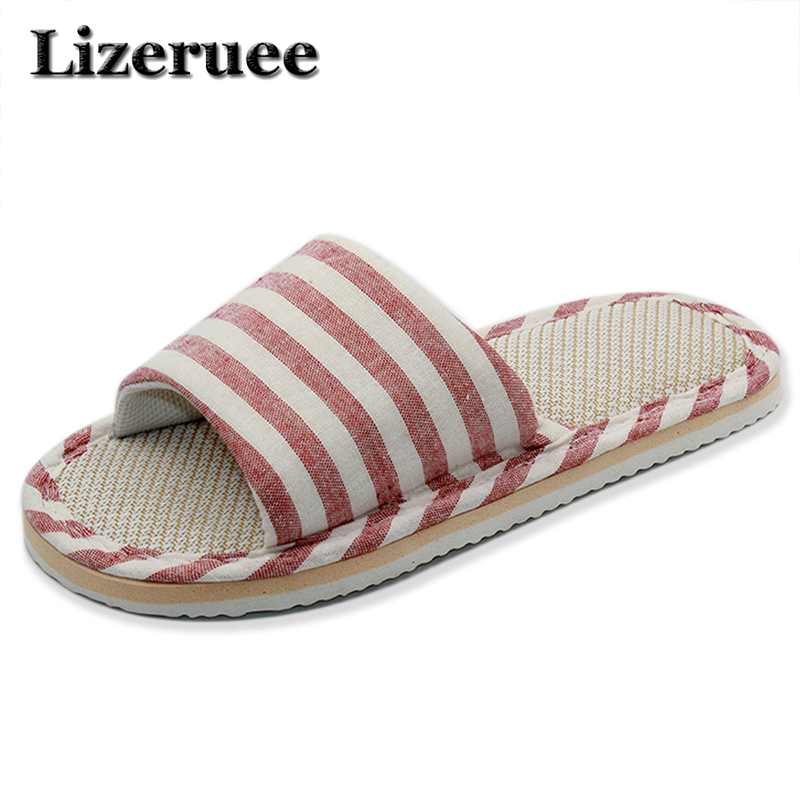 2018 New Style Household Comfortable Linen Striped Skid Slippers Home Indoor Slipper Summer Women Lover Floor Shoes Q15 new sale linen slipper summer style floor breathable indoor slippers men shoes flax striped bedroom shoes 8821