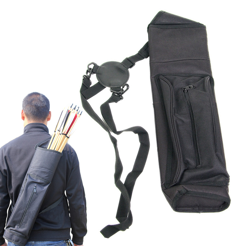 Outdoor Tool survival kit New Arrow Quiver Tube Shoulder Arrow Bag with Pouch Belt Bow Case Holder Black camping equipment цены