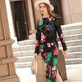 High Quality Runway Sets 2016 Fall Winter Fashion Long Sleeve Sexy Lace Top and Print Skirt Set 2 Piece Outfit Plus Size Twinset