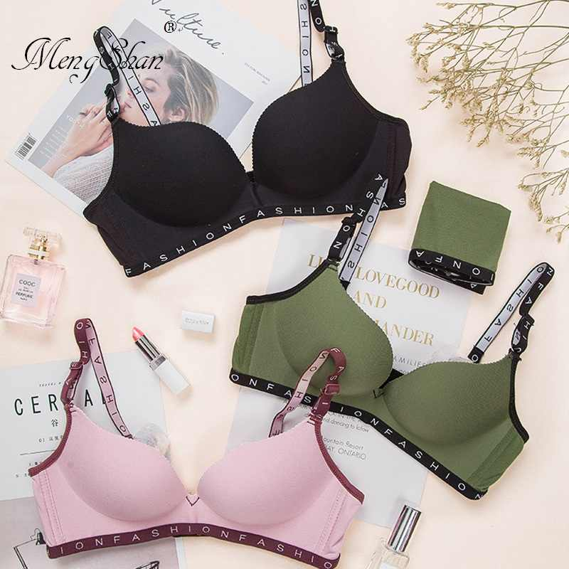 MengShan bras for women A New Type of Ground Underwear Euro-American English letter shoulder strap push up bra Seamless bra
