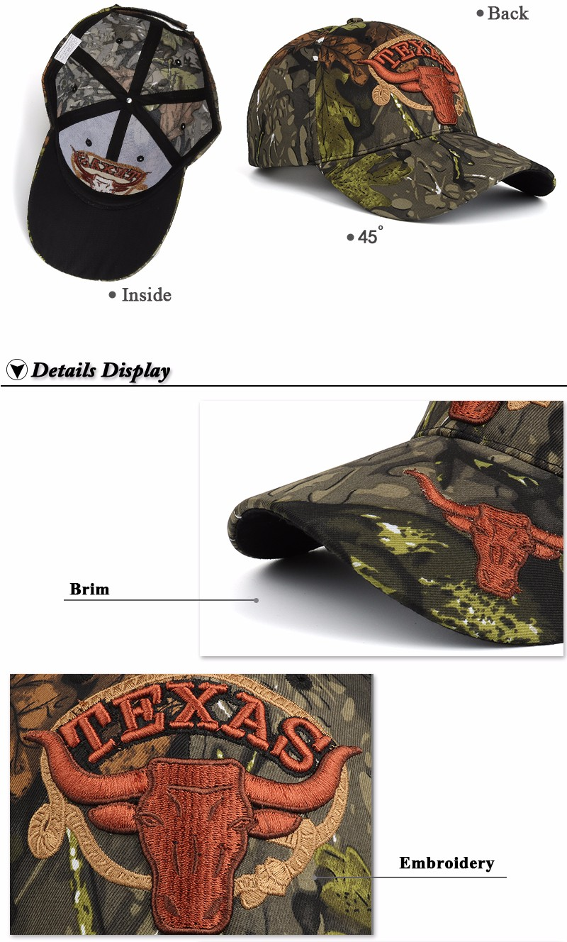 """Embroidered """"Texas"""" and Bull Horns Camo Baseball Cap - Inside, Front Angle, Brim and Embroidery Detail Views"""