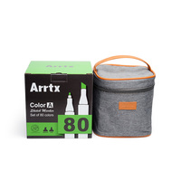 Arrtx 80 Color Set Art Marker Pen Artist Dual Head Drawing Sketching Markers Watercolor+Carry Bag + Packing box