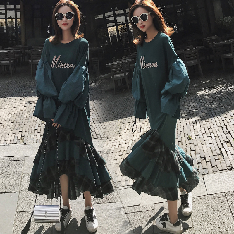 Vintage irregular ruffles lantern sleeve hoodies dress women S M L 2019 new arrival
