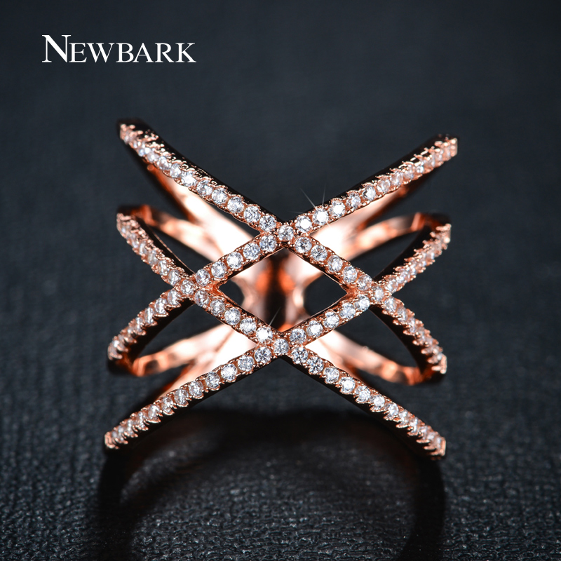 Newbark Vintage Double Cross X Shape Rings For Women Zirconia Micro Paved Rose Gold And Color Jewelry Christmas Gifts