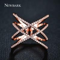ZOEVON Fashion Rings For Women 2015 Double Cross X Shape Ring Zirconia Micro Paved 18K Gold