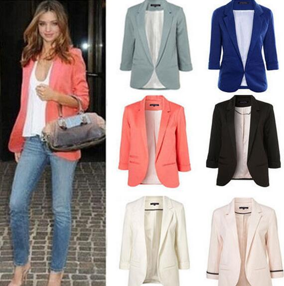 2018 Candy Color Seven-point Sleeves  Small Suit Commuter Models Slim Women Blazers(China)