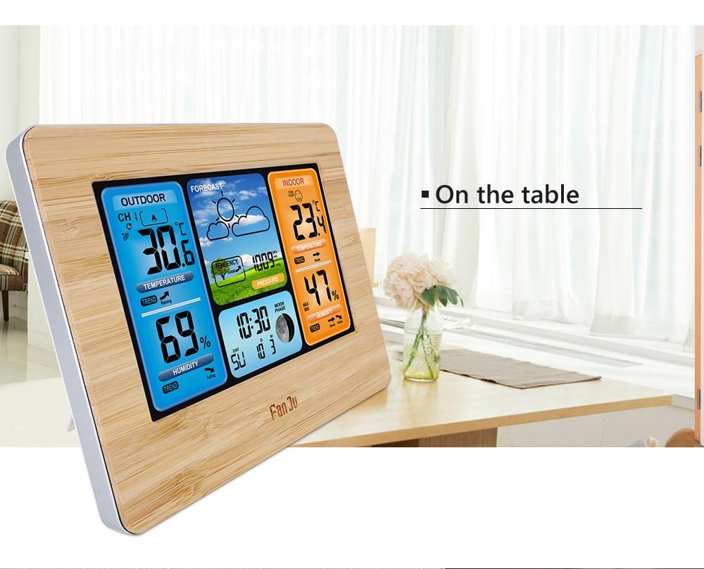 FanJu FJ3373 Weather Station Digital Thermometer Hygrometer Wireless Sensor Forecast Temperature Watch Wall Desk Alarm Clock