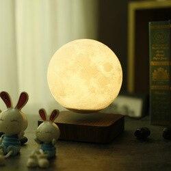 Della novità LED Maglev luce della luna di notte 3d Stampa Lunare Lampada Regalo Di Compleanno Creativo levitazione Magnetica 360 Ruota palla al plasma