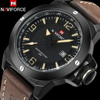 גברים שעון ספורט מותג העליון סין NAVIFORCE 30 M שעוני יד צבאי רצועת עור אמיתי עמיד למים זכר שעון Relogio Masculino