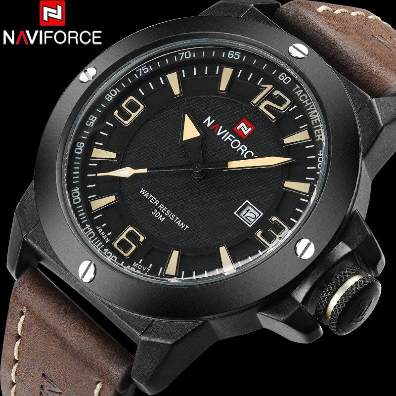 NAVIFORCE China Top Brand Sport Watch Men 30M Waterproof Genuine Leather Band Military Wristwatches Male Clock Relogio Masculino naviforce new genuine leather watch men
