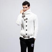 Fashion Add Wool Turtleneck Sweater Coat Men Korean Keep Warm Knitting Cardigan Male Long Sleeve Button Thick Sweatercoat