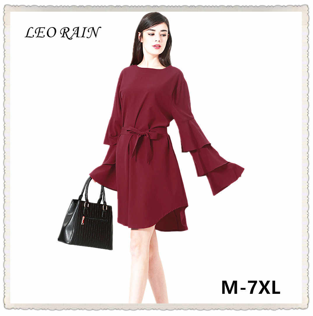 7XL 6XL 5XL большой размер Для женщин модные платья с длинным рукавом 2018 Новый