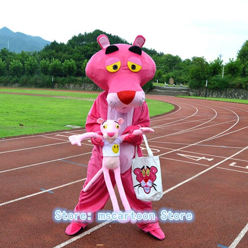 Costume de mascotte panthère rose adulte de haute qualité