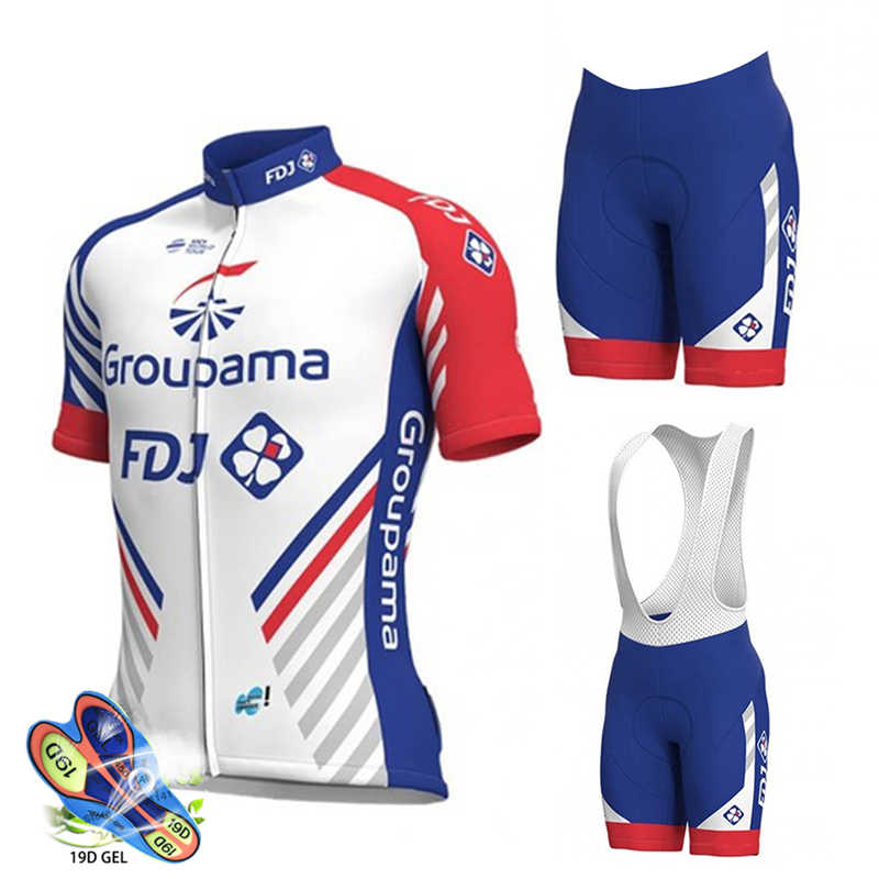 2019 FDJ Cycling Jersey Set Pro Team Cycling Clothing MTB Cycling Bib Shorts Quick Drying Men Bike Jersey Set Ropa Ciclismo