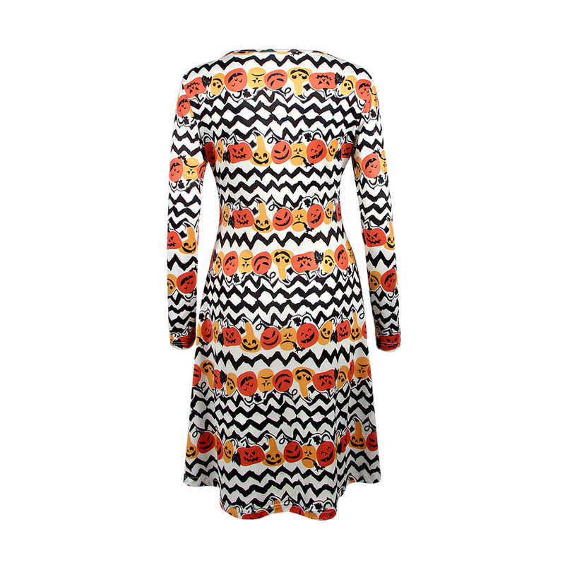 2018 Spring Autumn New Halloween Christmas Pumpkin Striped Print Long Sleeve Dress Women Clothes Costumes Festival Party Vestido in Dresses from Women 39 s Clothing