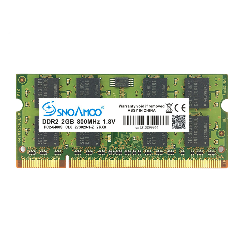 SNOAMOO Laptop RAMs DDR2 2GB 667MHz PC2-5300S 800MHz PC2-6400S 200Pin CL5 CL6 1.8V 2Rx8 SO-DIMM Computer Memory Warranty 3