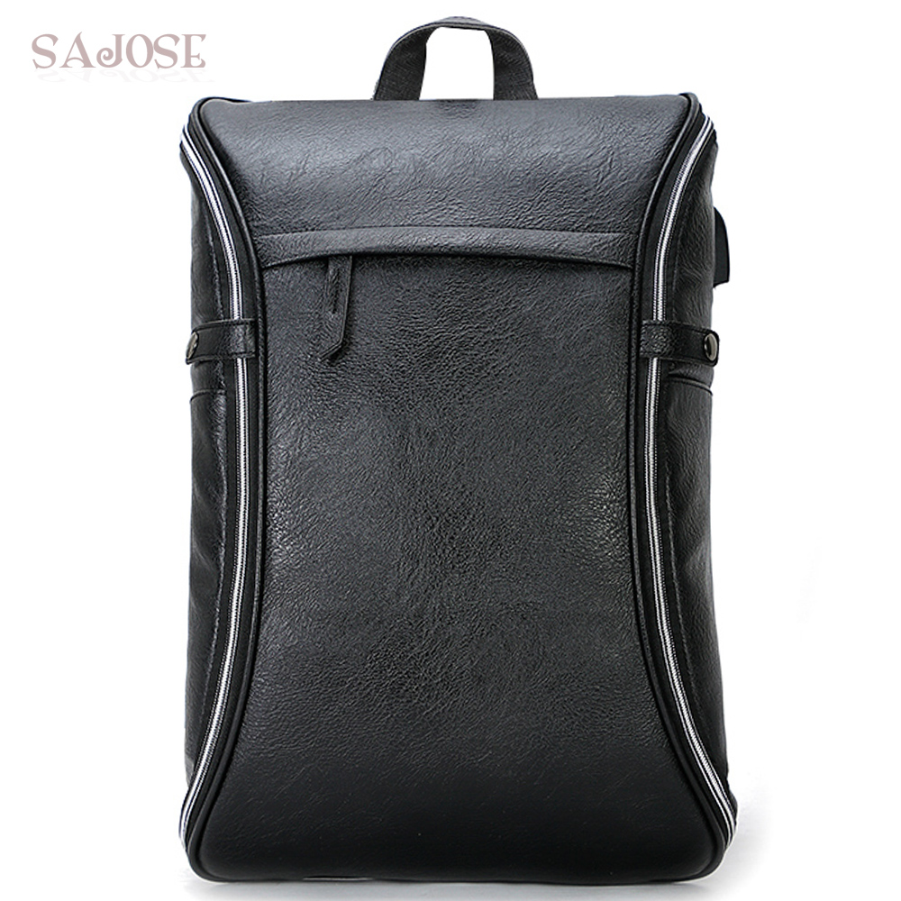 15.6 inch Laptop Backpack Men PU Leather Backpacks For Teenager Men Casual Daypacks High Quality Brand Waterproof Mochila Male brand men pu leather backpack male 14 inch laptop backpack for men business waterproof back pack sac a dos