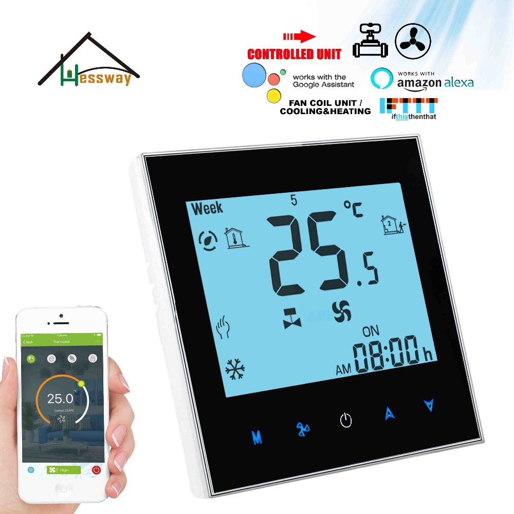 HESSWAY EU Mounting 2Pipe 4pipe Cooling Heating Digital Programmable Room Thermostat Switch For NC/NO Valve And 3 Speed Fan