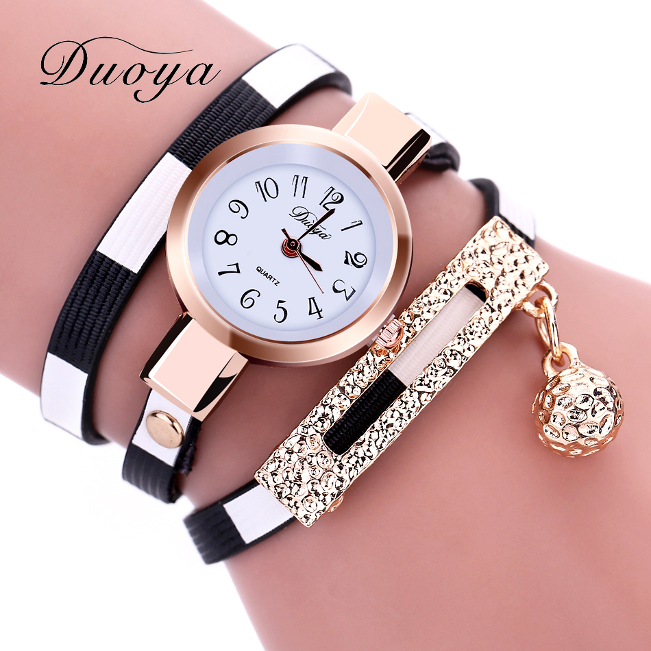 Duoya 2017 New Fashion Watches Women Gold Band Stripe Style Luxury Women Bracelet Watch Female