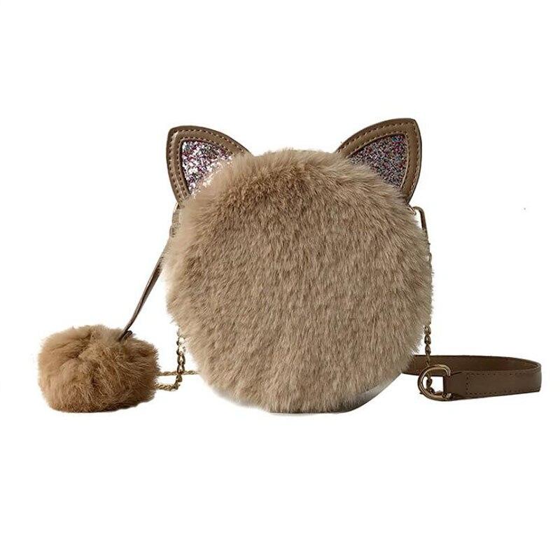 Cat-Ear-Chain Messenger-Bag Round-Bag Women's Handbag Shoulder Fashion New-Quality Ladies
