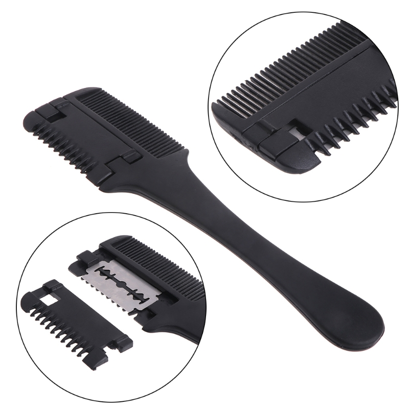 1pc Hair Razor Comb Black Handle Scissors Cutting Thinning Home DIY Trimmer Inside Blades