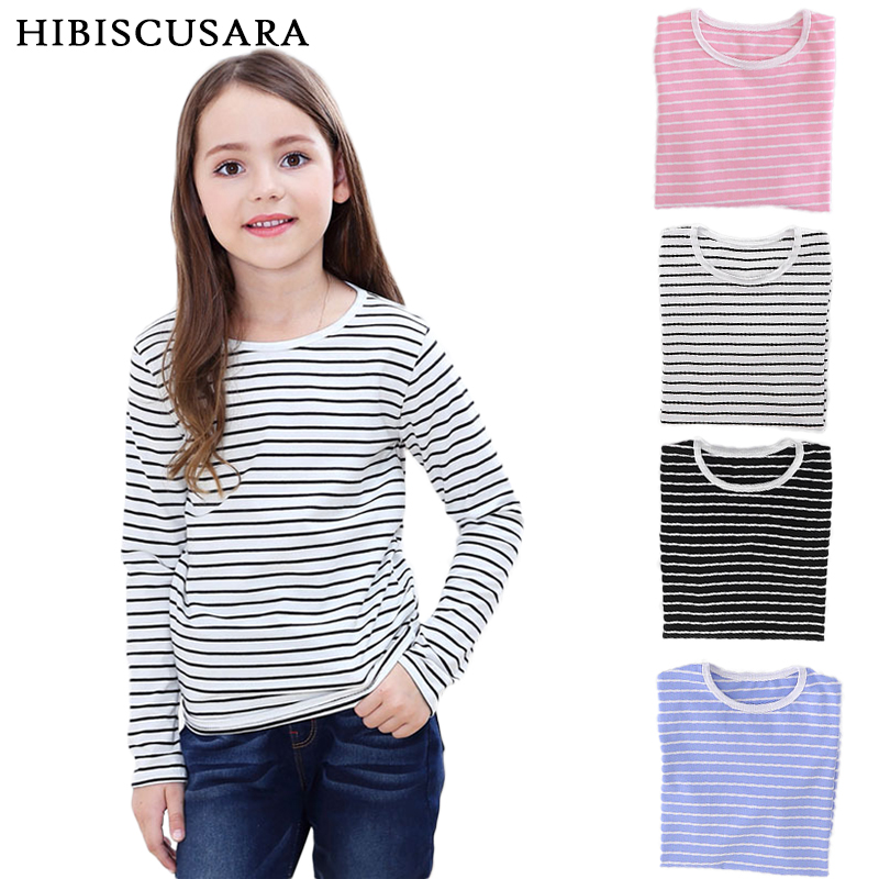 Tees T-Shirt Basic-Tops Long-Sleeve Girls Autumn Boys Striped Kids Cotton Children 2-12