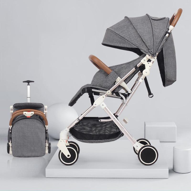 RU livraison gratuite! Bébé poussette 5.8 kg portable type peut s'asseoir inclinable ultra lumière haute paysage pliage poussette