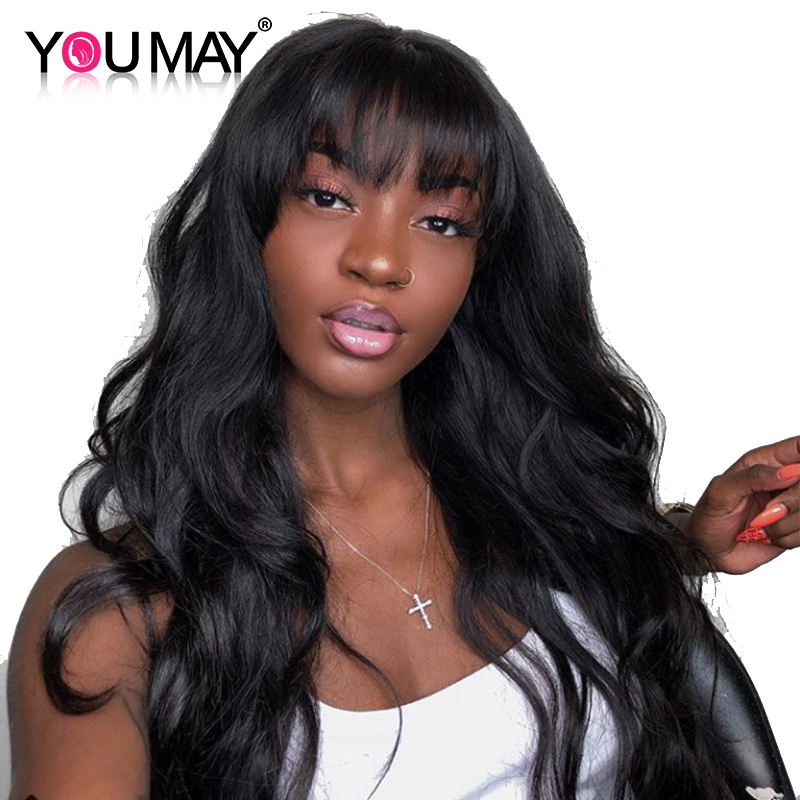 Body Wave 360 Lace Frontal Wig With Bangs Pre Plucked Baby