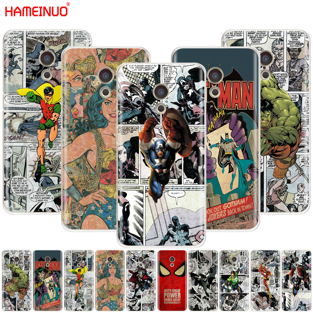 HAMEINUO Бэтмен Человек-паук Wonder woman крышка телефона чехол для Meizu M6 M5 M5S M2 M3 M3S MX4 MX5 MX6 PRO 6 5 U10 U20 Примечание плюс