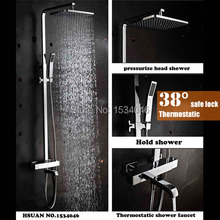 Top quality auto thermostat control bathroom item brass material shower set with Thermostatic faucet and 10 inch head