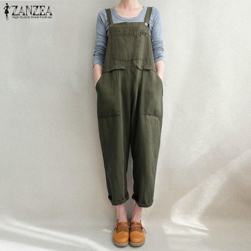 2018 ZANZEA Women Strappy Pockets Loose Solid Jumpsuits Casual Cotton Linen Dungarees Bib Overalls Retro Baggy Rompers Plus Size
