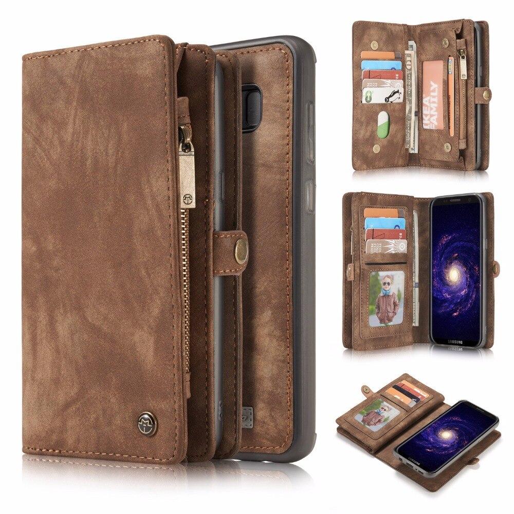 imágenes para Caseme para samsung galaxy s8 plus wallet case de cuero con cremallera dividida bolsa multi ranura extraíble case para galaxy s8 imán de la contraportada