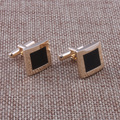 16*16mm Square Design Gold Cuff links For Mens Black Enamel