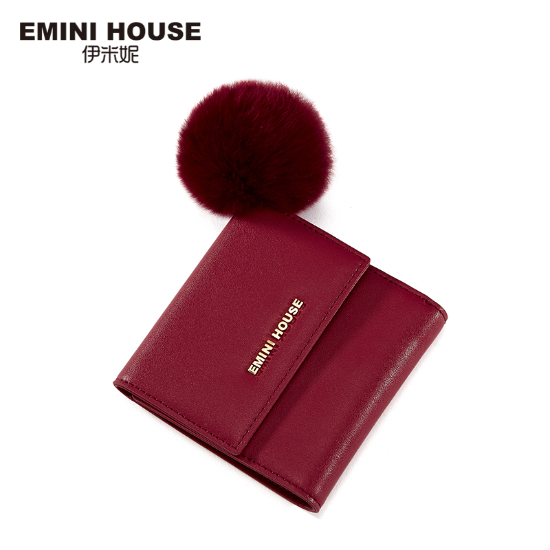 EMINI HOUSE Hair Ball Wallets Split Leather Women Short Wallet Hasp Trifold Small Wallet Lady Purse Multifunction Coin Purse
