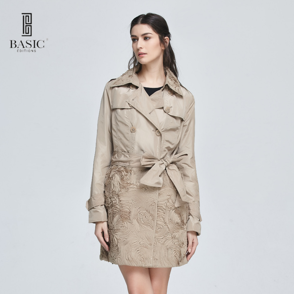 Basic Editions Women Spring Single Breasted Coat with Lace Flower and Belt Overcoat Jacket – 12S-18