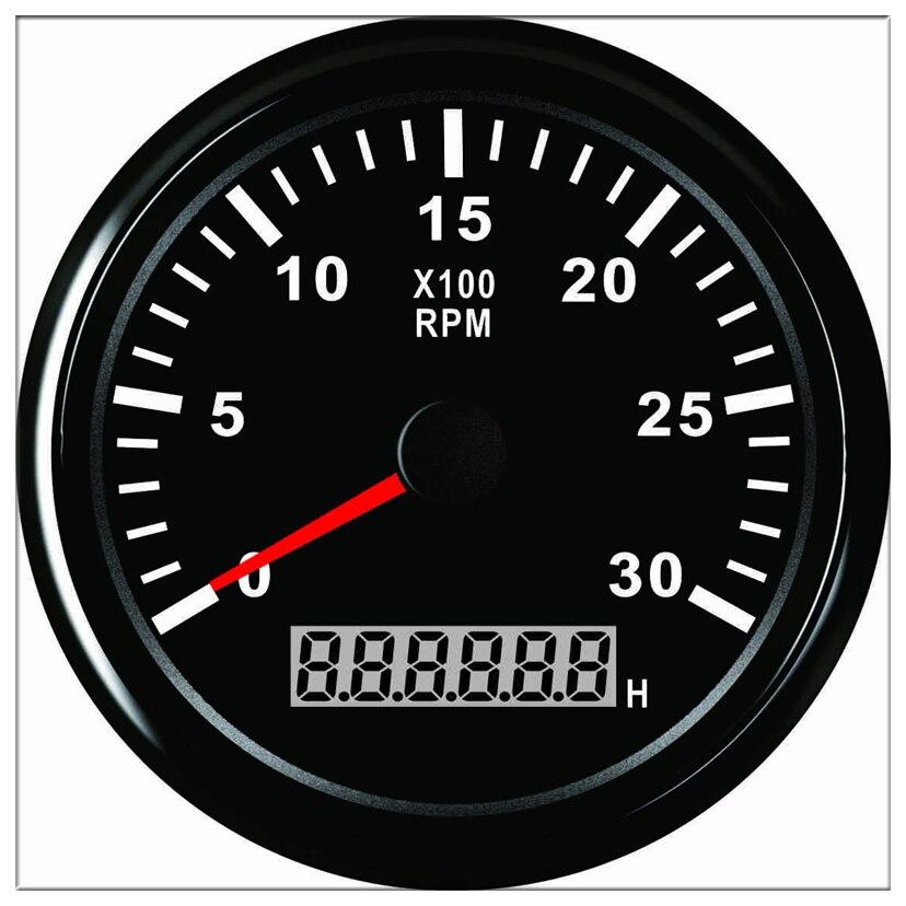 T/mn mete heure 85mm moteur tachymètre compte-tours 0-3000 tr/min avec LED voiture camion bateau hors-bord 12 V/24 V avec rétro-éclairage