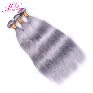 Image 2 - Ms Love Pre Colored Silver Grey Bundles With Closure Straight Remy Brazilian Human Hair Bundles With Closure