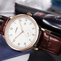 2017 SINOBI klasyczne męskie zegarki na rękę skórzany pasek na rękę casual biznes mężczyźni genewa kwarcowy zegar luksusowe marki Montres Hommes w Zegarki kwarcowe od Zegarki na