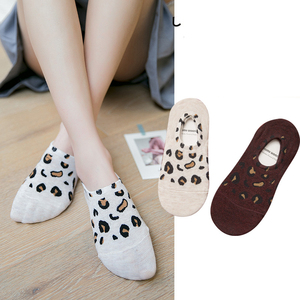 Sock Slippers Woman 2019 New Fashion 1 pair Women Socks Slippers Cotton Leopard Women Boat Socks Women Invisible
