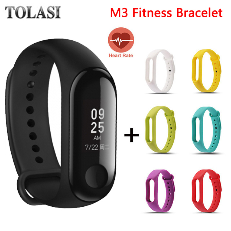 TOLASI 2018 Bluetooth Smart Wristband Fitness Bracelet Mi 3 Men Touch Screen OLED Message Heart Rate Time Smartwatch Women M3 2018 m3 smart bracelet fitness women bracelet miband 3 large touch screen oled information heart rate time smart sport watch men